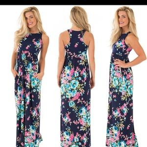 Dresses & Skirts - Navy blue floral racer back maxi